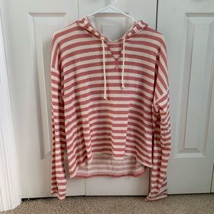 Aeropostale Pink and White Striped Hoodie